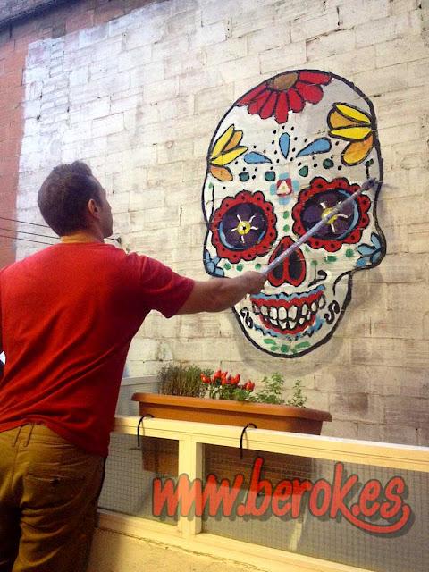 mural pintado calavera mexicana