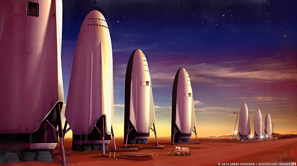 SpaceX ITS spaceship fleet on Mars by James Vaughan