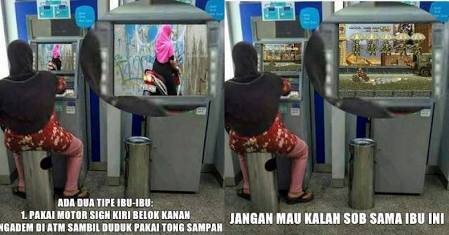 Meme Lucu Seorang ibu Sedang Duduk di Depan ATM