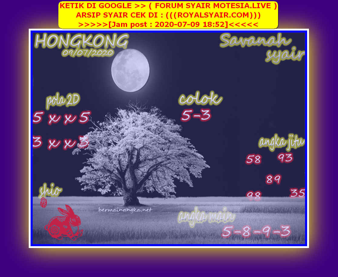 Kode syair Hongkong Kamis 9 Juli 2020 149