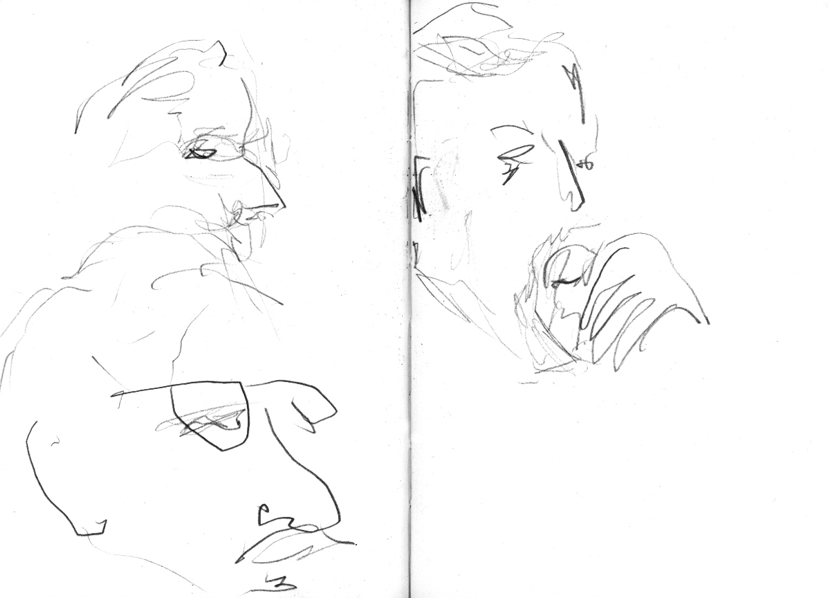 Tom raworth gunnar harding anselm hollo the horse hospital london april 2012 drawing by geoffrey winston © 2012 all rights reserved