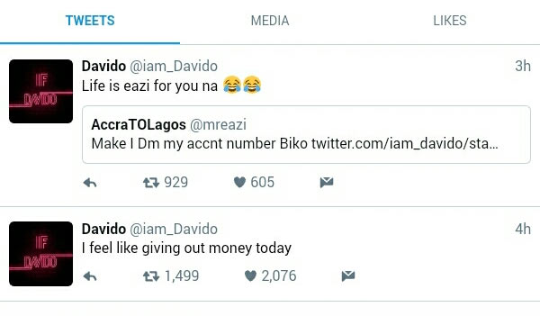 Davido stylishly turns down Mr. Eazi after begging him for money