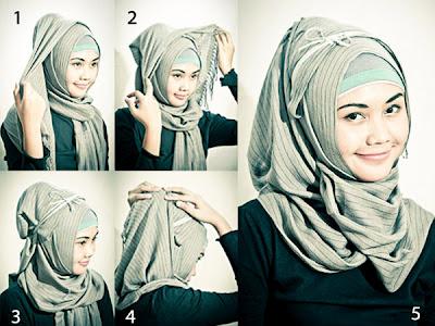 Gambar Bagaimana Cara Memakai Jilbab Segi Empat  Ojo