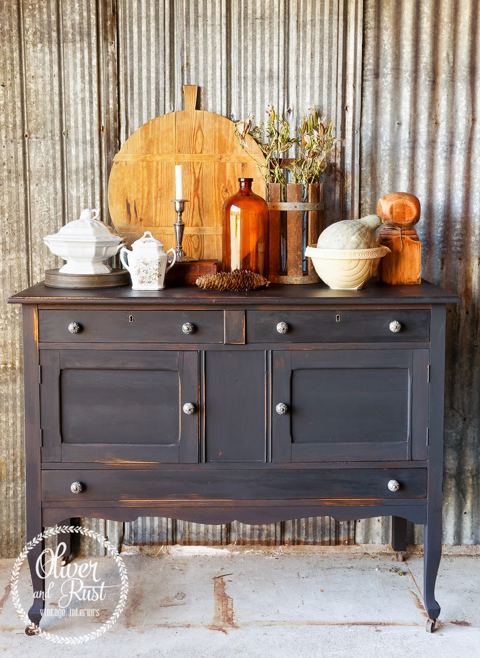 Beautifully painted black buffet from Oliver & Rust | Friday Favorites at www.andersonandgrant.com