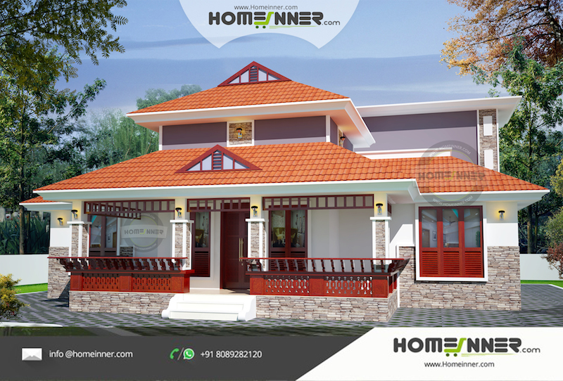 1231 sqft 3 Bhk Traditional Kerala Style Home Design