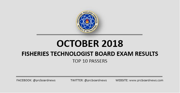 October 2018 Fisheries Technologist board exam results: top 10 passers