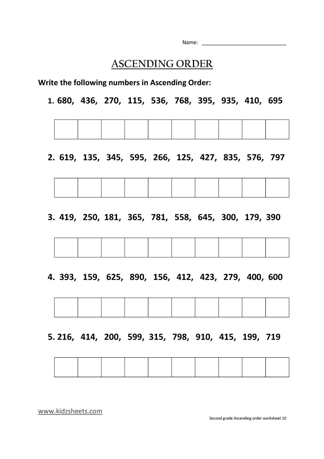 Kidz Worksheets Second Grade Ascending Order Worksheet10