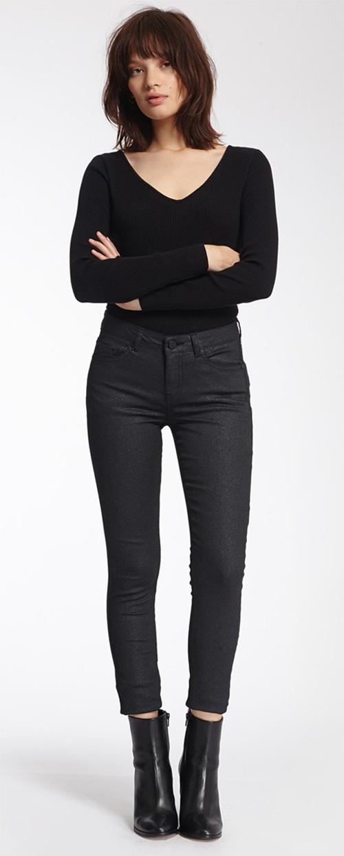 Pantalon femme noir enduit Morgan