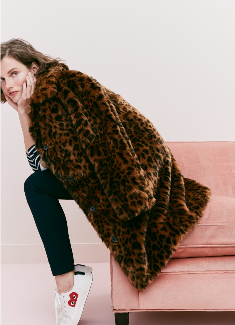 J. Crew Faux-Fur Leopard Coat, Striped Boatneck T-Shirt, Any Day Pant in Stretch Ponté and Comme des Garçons® Low-Top Sneakers