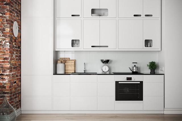 Cocina de diseño minimalista blanca