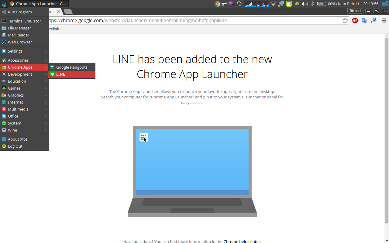 app line di menu utama ubuntu 14.04 xfce de