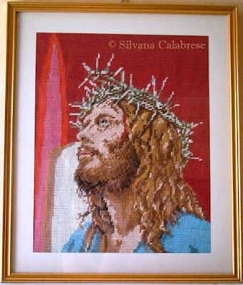 Gesù Cristo ricamato a mezzo punto su canovaccio stampato Silvana Calabrese - Blog