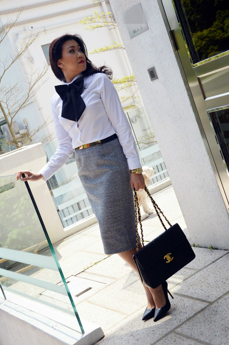 ed9037bd This is a great look for work, where conservative as it may seem with the  hemline and button up collar, but funky with the bold accessories of the  large ...