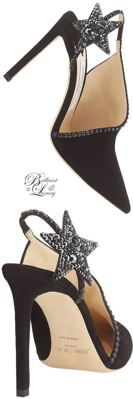 optimized pins Brilliant Luxury ♦ Jimmy Choo Lucette Black Suede Pumps with Hotfix Crystals #brilliantluxury