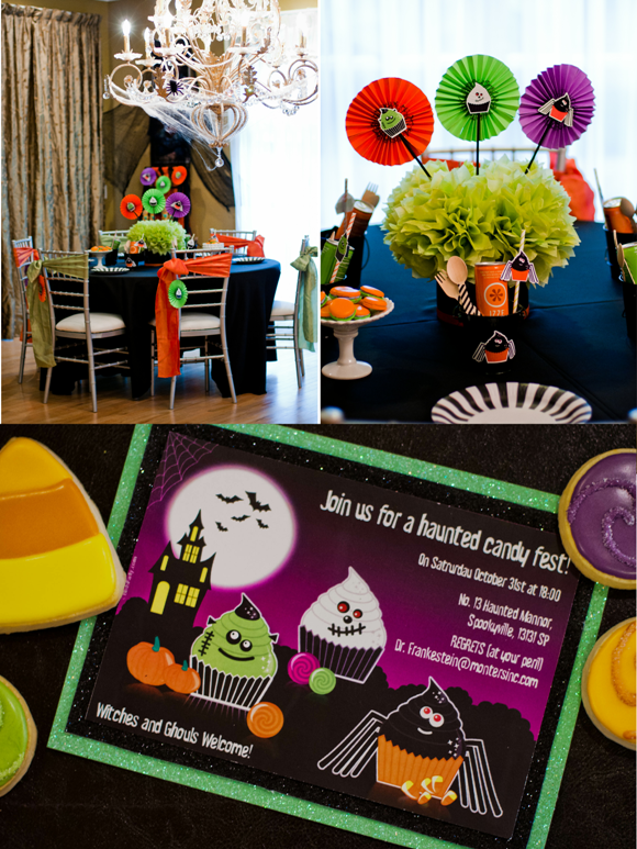 Halloween Kids Party Ideas | Little Monsters Cupcakery - via BirdsParty.com