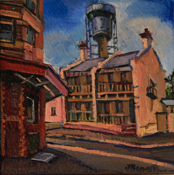 plein air oil painting of the Harbour Control Tower, Millers Point near Barangaroo, with the Palisade Hotel by industrial & maritime heritage artist Jane Bennett