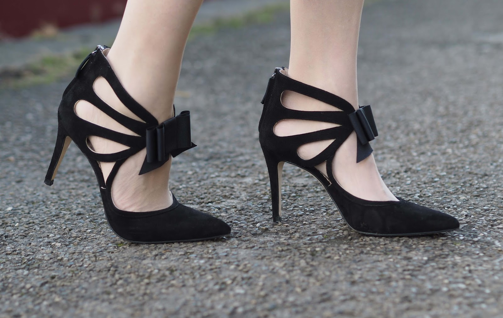 Boden Black strappy bow shoes