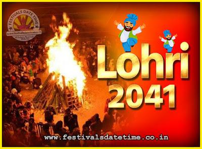 2041 Lohri Festival Date & Time, 2041 Lohri Calendar