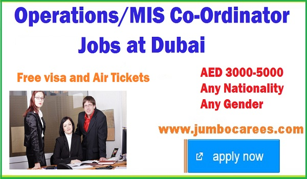 MIs coordinator job vacancy in Dubai, list all new vacancies in Dubai UAE