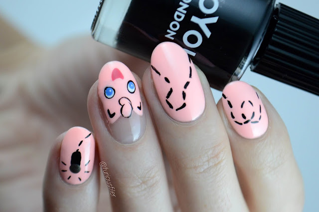 Pink Kawaii cute nail art Pokemon anime