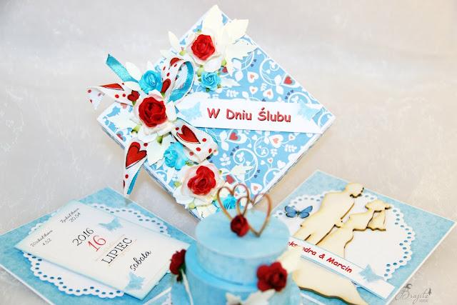 Co Bóg złączył, życzenia ślubne, AltairArt inspiracje, box z tekturką, na ślub, na zamówienie, kartka ślubna, jak przeazać pieniądze w prezencie ślubnym, życzenia na słodko, tort ślubny, błękitna kartka ślubna