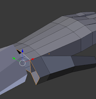Extruding towards the arm.