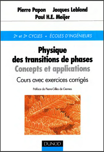 Livre : Physique des transitions de phases, Concepts et applications - Cours et exercices corrigés