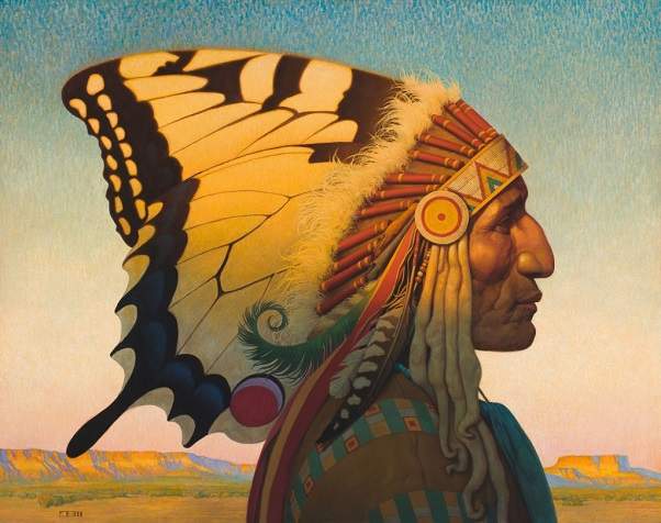 "by Thomas Blackshear, ""Native American Nouveau"" - oil"