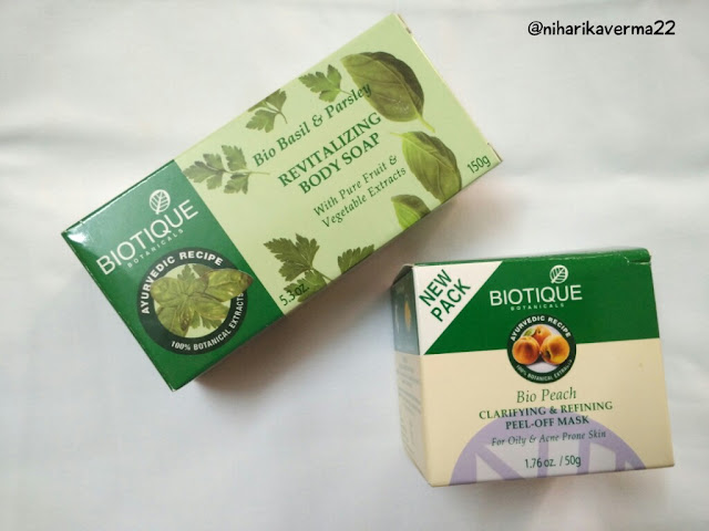 Biotique | Bio Peach Peel-off Mask | Bio Basil & Parsley Body Soap | Review 1