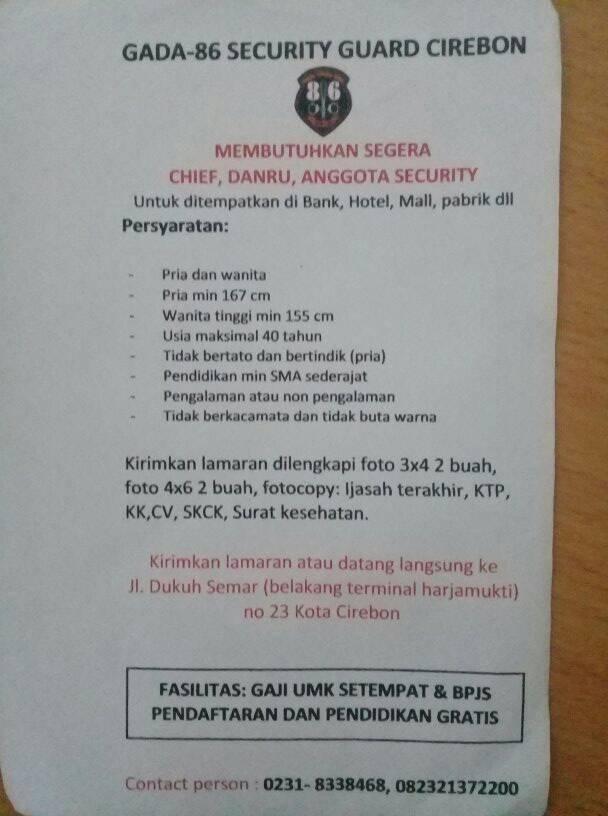Lowongan kerja Cirebon Security Gada 86