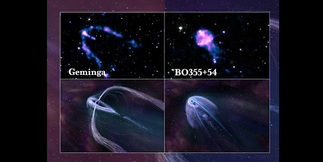 An artist's representation of what the three unusual tails of the pulsar Geminga may look like close up. NASA's Chandra X-ray Observatory is giving astronomers a better look at pulsars and their associated pulsar wind nebulae, enabling new constraints on the geometry of pulsars and why they look the way they do from Earth.   Image: Illustrations by Nahks TrEhnl