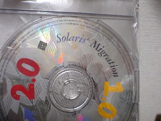 SPARC版Solarisの1.0から2.0へ移行するためのアプリケーションがはいっているCDです。