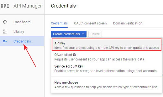 get youtube data api key 3