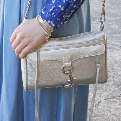 chambray maxi skirt, Rebecca Minkoff metallic silver mini MAC | Away From The Blue