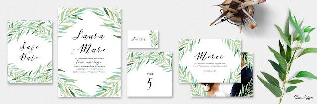 Faire-part collection eucalyptus aquarelle Paper and Love blog mariage www.unjourmonprinceviendra26.com