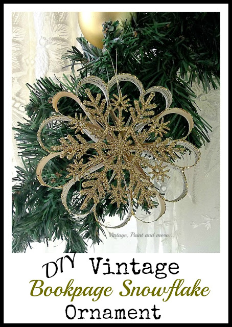Vintage, Paint and more... a glittery gold snowflake decoration made with book pages