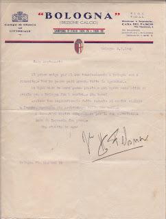 Hermann Felsner scrive a Montesanto la sua intenzione di portarlo al Bologna.