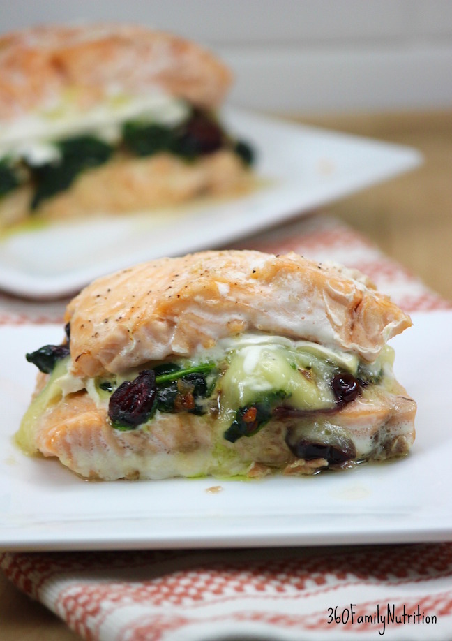Salmon stuffed with cranberries and brie