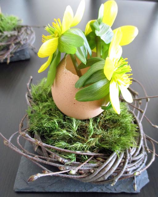 Osternest aus Birkenzweigen
