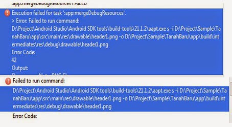 Cara mengatasi Error ':app:mergeDebugResources'. di Android Studio