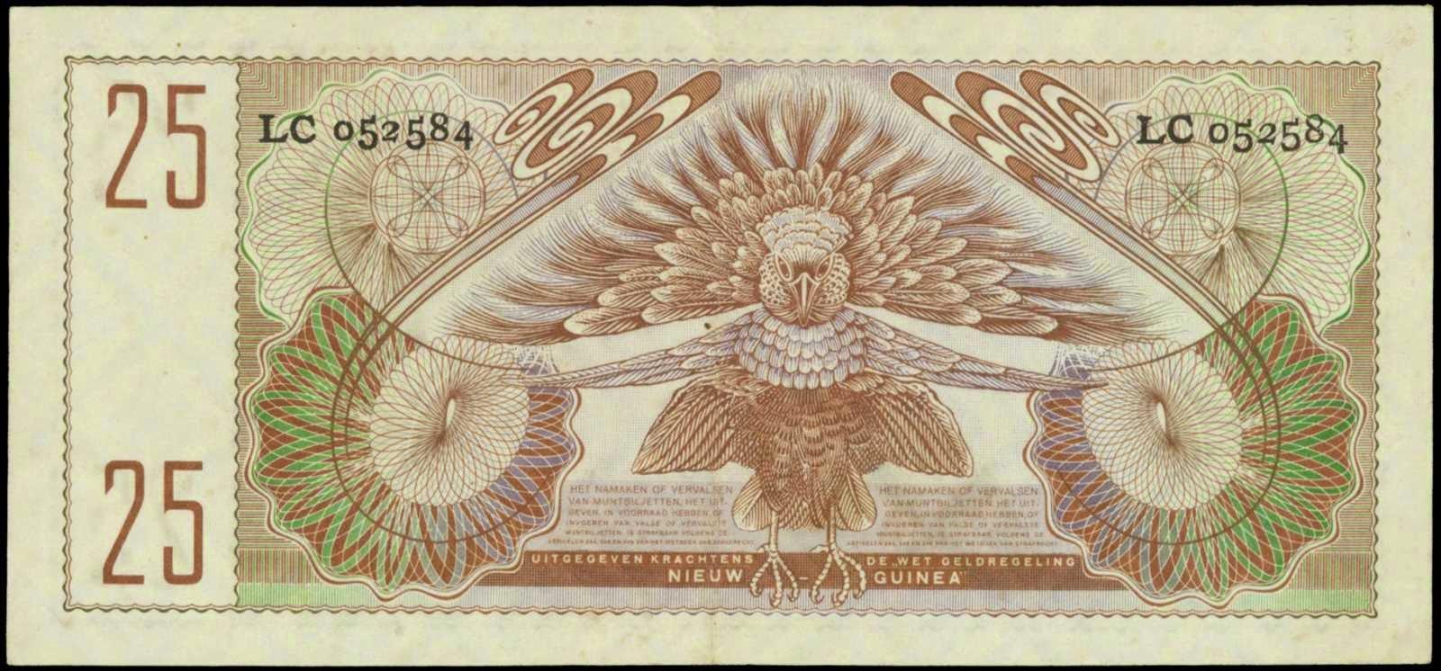 Netherlands New Guinea paper money 25 Gulden bank note 1954