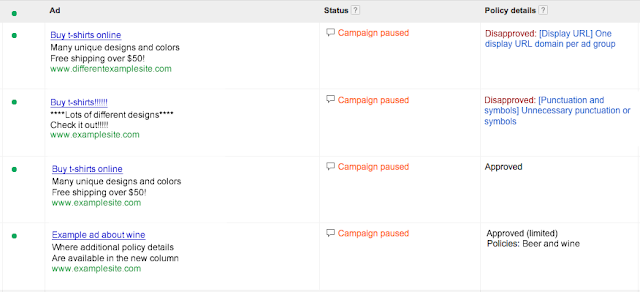 Google AdWords - Disapproved Ad Policy Details