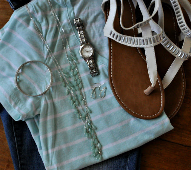mint green and denim