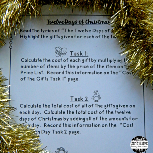 12 Days Of Christmas Costs.Celebrate Christmas With A Math Project Live Laugh Love To Learn