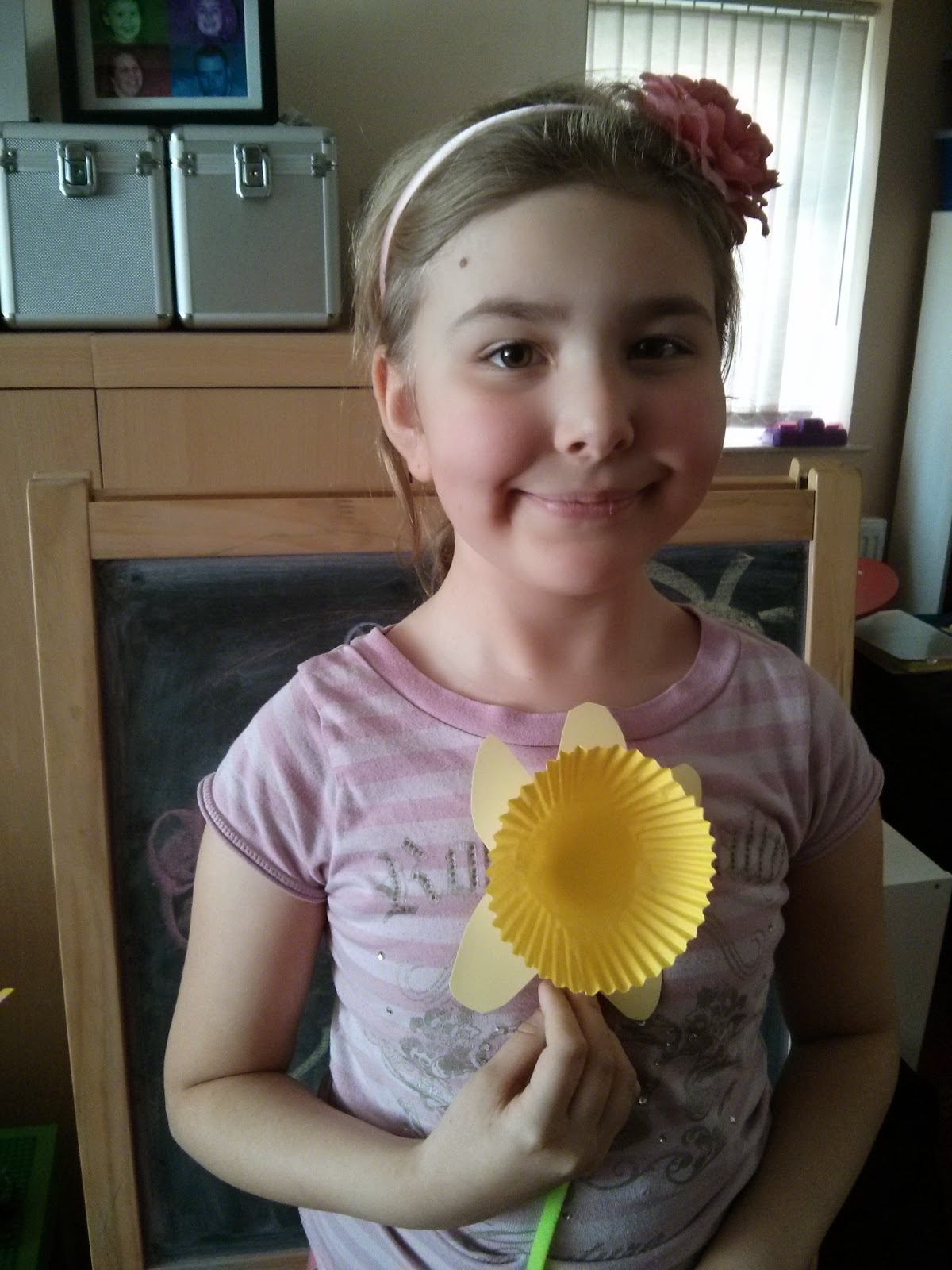 Top Ender with her giant homemade daffodil