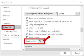 Tutorial Cara Mengganti warna gridlines pada Excel