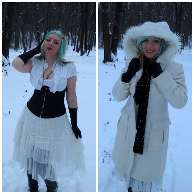 goth girl snow winter outfir