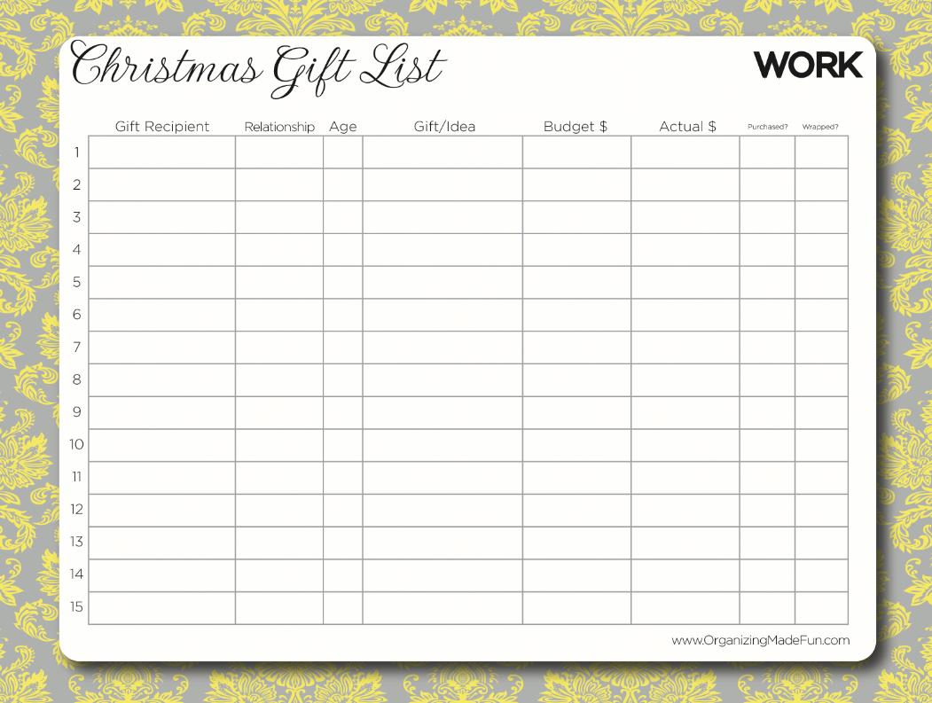 27 christmas gift list templates free printable word pdf jpeg – Christmas List Template