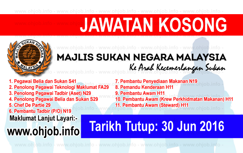 Jawatan Kerja Kosong Majlis Sukan Negara Malaysia (MSN) logo www.ohjob.info jun 2016