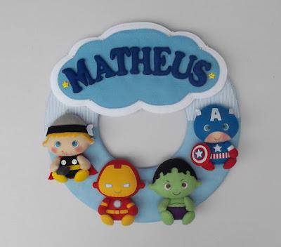 Enfeite para porta de maternidade guirlanda com tema super heróis